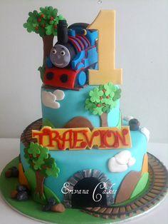 Thomas the Tank Engine Cake 2 Thomas Birthday Cakes, Thomas Birthday Parties, Thomas Cakes, Boy Birthday, Beautiful Cakes, Amazing Cakes, Cakes For Boys, Boy Cakes, Thomas The Tank Cake