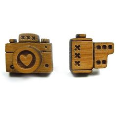 bRainbow Wooden Camera Earrings ❤ liked on Polyvore