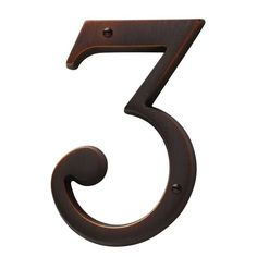 Baldwin 90673 Solid Brass Residential House Number 3 Venetian Bronze Home Accents Address Numbers 3