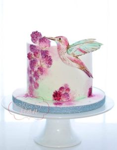 Humming Bird Handpainted cake by Cakes by Sian