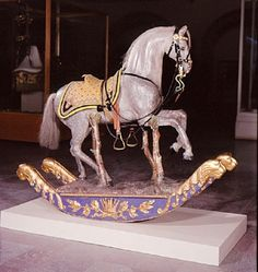 Courtesy of The Royal Armoury (http://emuseumplus.lsh.se/). Rocking horse from the 1830's, used by crown prince Carl (future Carl XV).