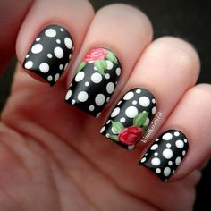 black base with white polka dots and double rose accent nails by kimiko7878 #fav #classic