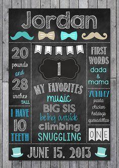 Mustache Chalkboard Poster // Boys First Birthday Chalkboard Printable on Etsy, $12.00