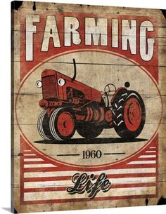 Jace Grey Premium Thick-Wrap Canvas Wall Art Print entitled Farming Life Tractor Red, None
