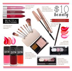 """""""$10 Beauty.."""" by vkevans ❤ liked on Polyvore featuring Revlon, Maybelline, vkevans and 10dollarbeauty"""