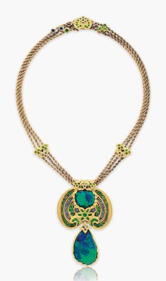 A black opal, demantoid garnet, sapphire and enamel necklace, circa by Louis Comfort Tiffany, Tiffany & Co. Christie's Tiffany Jewelry, Opal Jewelry, Bling Jewelry, Jewelry Art, Antique Jewelry, Vintage Jewelry, Tribal Jewelry, Gold Jewellery, Louis Comfort Tiffany