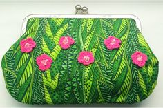 Tropical, one-of-a-kind fabric clutch bag by M A Labour of Love Clutch Bag, The Creator, Coin Purse, Tropical, Purses, Love, Spring, Fabric, Handmade