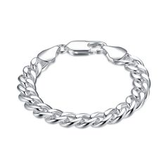 Lose Money Fashion 925 Silver Bracelets 10MM Side way Cable Chain Bracelet For Men Bracelets 2015 Jewelry pulsera hombre H151