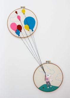 Balloon Bunny Rabbit Embroidery PDF Digital Pattern by RobinMiyo, $3.50