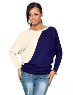 Women's New Fashion Casual Round Neck Tops Batwing Long Sleeve Blouses Tops 2 Colors Simple Style for Gifts