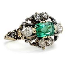 edwardian diamond and tourmaline ring