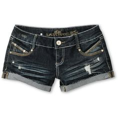 Cruise the boardwalk in the Haley denim shorts from Almost Famous for a casual cool look with stretch denim comfort. These girls short shorts feature a dark wash with cut-off rolled hems, rips and tears, and rhinestone details throughout. With a classic 5-pocket design, custom Almost Famous hardware, and blinged out back pockets, you can wear the Haley jean shorts over your bikini to always be beach ready.