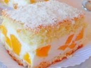 Výborný smetanový dort s broskvemi a tvarohem: Recept zde