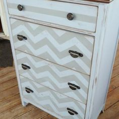 chevron dresser -  Totally doable with UL vinyl. Easier than paint and easy to remove when you're ready for a new look.  http://tpearl.uppercaseliving.net/DesignItems.m?CategoryId=305==5851==1