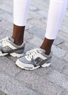There is 1 tip to buy shoes, chanel sneakers, chanel shoes, hair accessory. Chanel Sneakers, Sneakers Mode, Sneakers Fashion, Fashion Shoes, Coach Sneakers, Grey Sneakers, Chanel Tennis Shoes, Summer Sneakers, Streetwear