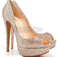 Sparkle Champagne Rhinestone Sky-high Platform Stiletto Heels Prom Shoes (if you buy from www.eridress.com they will not look like the photo, it will be a copy)
