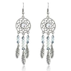 """""""Hollow Earrings Ancient silver color dream catcher Earrings Long Earring Dreamcatcher jewelry oorbellen Gift for women girl"""" I Love Jewelry, Ethnic Jewelry, Charm Jewelry, Jewelry Gifts, Jewelry Making, Beaded Jewelry, Jewelry Necklaces, Wing Earrings, Dangle Earrings"""