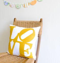 LOVE Pillow Cover - White Linen and yellow Felt - by Pillow Factory