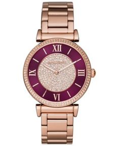 Michael Kors Women's Catlin Rose Gold-Tone Stainless Steel Bracelet Watch - It's rare that I wear anything remotely red but this is gorgeous