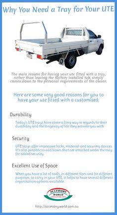There are various benefits of UTE tray such as durability, security, added space for loading extra goods. Go through this info-graphic and read the tips, why you need a customised tray for your #UTE.