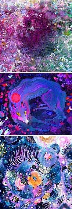 Purple illustrations // contemporary illustration // colorful art