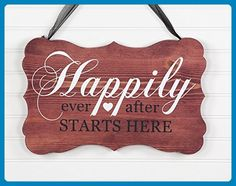 """Happily Ever After Starts Here Bracket Shaped Wood Wedding Sign - 6 Colors. Solid ¾"""" Wood - Ribbon Included - Wedding table decor (*Amazon Partner-Link)"""