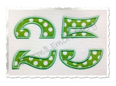 $3.95Split Applique Numbers Machine Embroidery Design (No Bars)