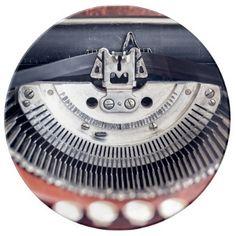 Vintage Typewriter Plate - retro kitchen gifts vintage custom diy cyo personalize