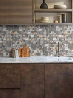 Unique mix glass metal gray copper mosaic backsplash tile for kitchen backsplash and indoor wall application. Metal Kitchen, Kitchen Tiles, Tile Backsplash, Modern Kitchen, Backsplash, Metallic Backsplash, Glass Kitchen, Copper Mosaic Backsplash, Kitchen Backsplash Trends