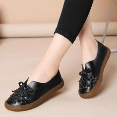 Women's Casual Shoes Women's Mother Ladies Female Woman Genuine Leathe – Touchy Style Black Shoe Boots, Black Shoes Sneakers, Black Casual Shoes, White Leather Shoes, Women's Casual, White Shoes, Sansa, Comfortable Shoes, Female