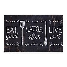 image of Soothing Chef Eat Laugh Love 19.7-Inch x 31.5-Inch Anti-Fatigue Kitchen Mat
