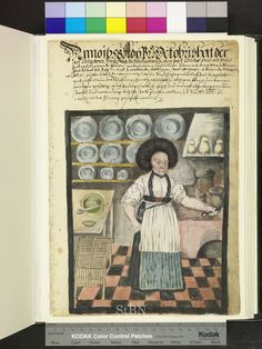 From: Die Hausbucher der Nurnberger Zwolfbruderstiftungen  The chef is in her kitchen in front of the stove. In her left hand she holds a poker to move the standing on fire earthen jugs. Jars and various dishes are placed on the shelves on the walls. At the bottom there is a frame. 1658
