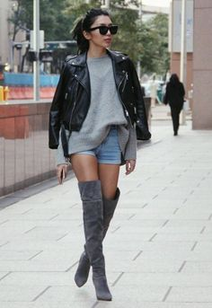 <3 @benitathediva  Over the knee boots in gray with a black leather jacket for those semi-warm winter days.