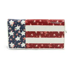 Sleepyville Critters Stars & Stripes Floral Zip-Around Wallet ($15) ❤ liked on Polyvore featuring bags, wallets, zipper wallet, zip around wallet, striped wallet, pocket wallet and floral print wallet