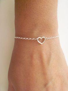 So Cute Tiny Heart Sterling Silver Bracelet ! #SterlingSilverHeart