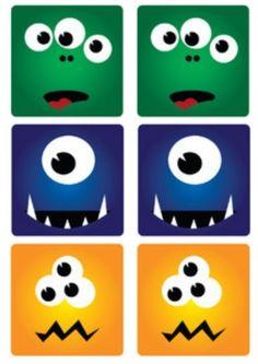 Mémori des monstres à imprimer et à coller sur des sous verres de forme carré. Jeu de société pour enfants de niveau maternelle.