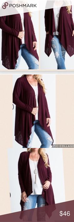 NEW PLUS size, Beautiful burgundy cardigan NEW PLUS size, Beautiful burgundy cardigan Has Pockets!!! 67% Rayon 33% Spandex Sweaters Cardigans