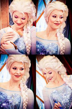 I watch YouTube videos of kids meeting Disney face characters (because I want to be Elsa or Anna someday) and this girl is always the best Elsa.  Her acting is flawless.  She's soooooo pretty too!