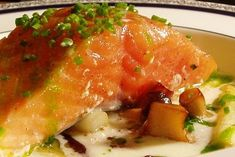 Slow Roasted Salmon With Chive Oil