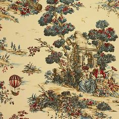 Kitchen: Decorating Ideas: Toile Fabric | Traditional Home. Tip: This hot-air balloon toile is a good option for a dining room wall, with its neutral but tawny parchment background shot with blue and red.