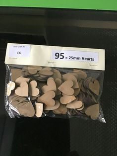 95 Hearts £5.00 Laser Cutting, Gift Guide, Hearts, Cards Against Humanity, Packing, Colours, Personalized Items, Bag Packaging