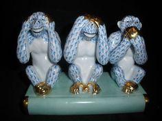 Herend Three Wise Monkeys Figurine Blue Fishnet Kingdom Classic 2007 15836