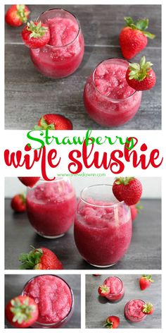 Cool off on a hot day with this simple and delicious Strawberry Wine Slushie Happy Hour, Alcohol Drink Recipes, Wine Recipes, Coctails Recipes, Fireball Recipes, Cooking Recipes, Refreshing Drinks, Summer Drinks, Pool Drinks