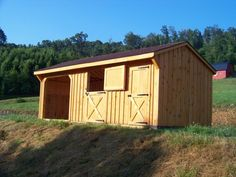 Horse BarnFeaturing a run-in and a tack room. Mini Horse Barn, Miniature Horse Barn, Simple Horse Barns, Horse Shed, Horse Barn Plans, Horse Stalls, Horse Run In Shelter, Animal Shelter, Horse Farm Layout