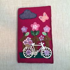 Cute Handmade Felt Notepad bicycle Fence Flowers Notepad,Notepad Holder,Bicycle Notebook,Padfolio…