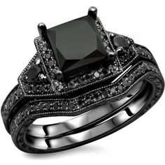 Noori Collection 14k Gold Princess-Cut Black Diamond Engagement Ring... ($1,704) ❤ liked on Polyvore featuring men's fashion, men's jewelry, men's rings, rings, jewelry, accessories, aneis, black, yellow gold engagement rings and 14k gold ring