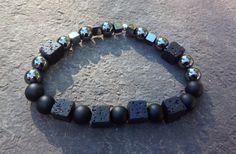 Men's Hematite Bracelet, Onyx (Matte), Lava Stone, Onyx, Lava, Matte Onyx, Lava Stone, Men's Jewelry, Men's Bracelets, Meditation Bracelet