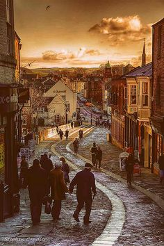 View down Elvet Bridge in Durham City, England