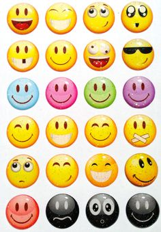 Emoticon Faces Glitter - 24 Pieces 3D Semi-circular iPhone Home Button Stickers