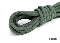 Braided silk cord 8mm bookbinding rope grey / green 1m by OandN, $4.50